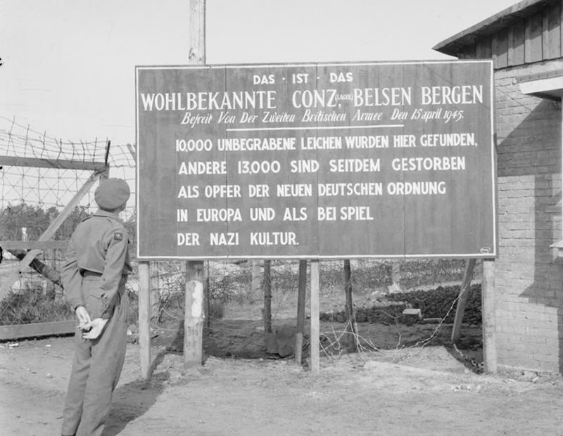 A sign erected by British Forces at the entrance to Bergen-Belsen concentration camp, Germany, 29 May 1945