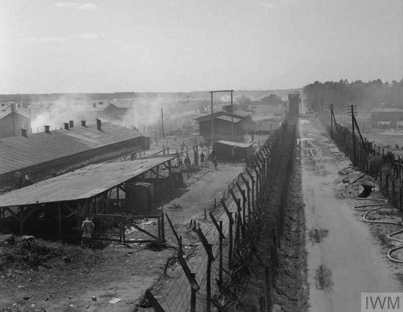 Overview of Camp No 1, now substantially evacuated, taken from a watch tower used by the German guards.